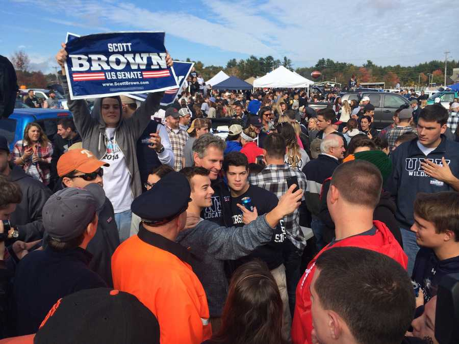 U.S. Senate Candidate Scott Brown campaigns at a rowdy UNH tailgate party.