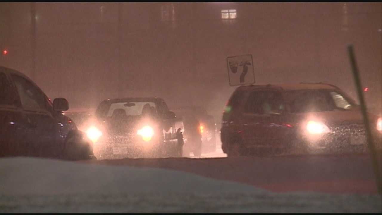 A snowstorm slammed the Granite State Saturday evening, eliciting cheers from some and grumbles from others.