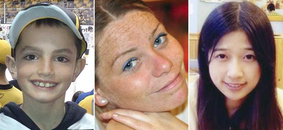 Martin Richard, 8, Krystle Campbell, 29, and Lu Lingzi, a Boston University graduate student from China. Richard, Campbell and Lu were killed in the bombings near the finish line of the Boston Marathon on April 15, 2013.
