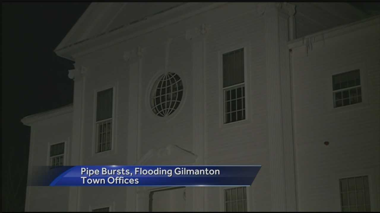 The Gilmanton town offices will be closed on Monday after a pipe burst in the building.