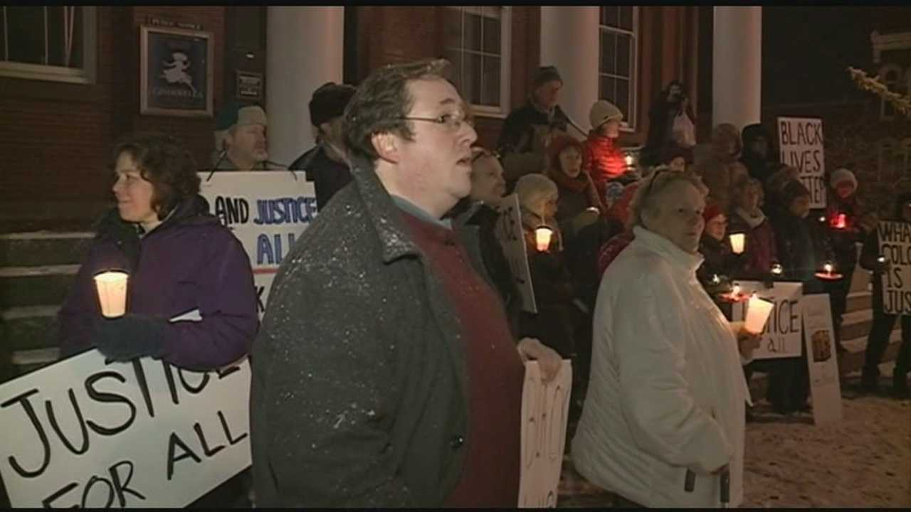 Demonstrators gathered in Exeter to hold a vigil. As Stephanie Woods reports, they're sharing a message that protestors have used across the country: black lives matter.