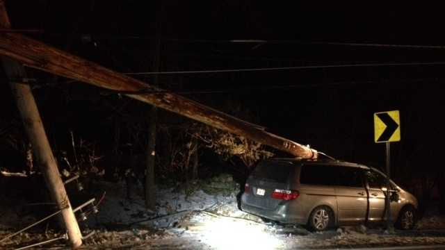 A van crashed into a utility pole on Mammoth Road in Pelham early Sunday morning.