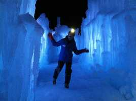 Explore the massive ice castle, located at the Hobo Railroad in Lincoln.