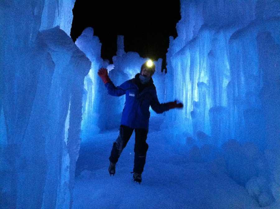 Explore the massive ice castle, located at the Hobo Railroad in Lincoln.