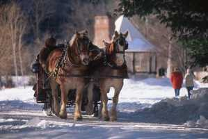 Visit Nestlenook Farm and enjoy a sleigh ride, snow shoeing or ice skating.
