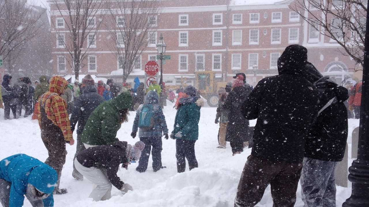 A big snowball fight broke out in downtown Portsmouth during the blizzard Tuesday.