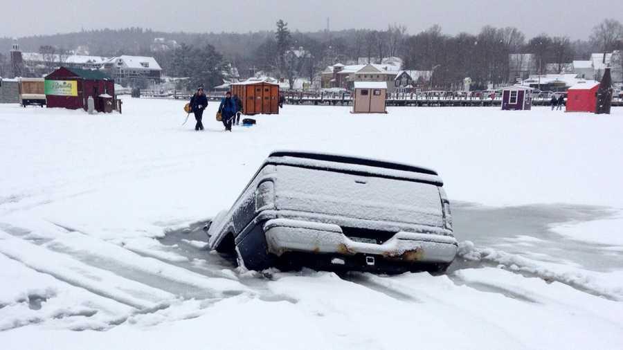 Truck crashes through ice on lake winnipesaukee for Ice fishing nh