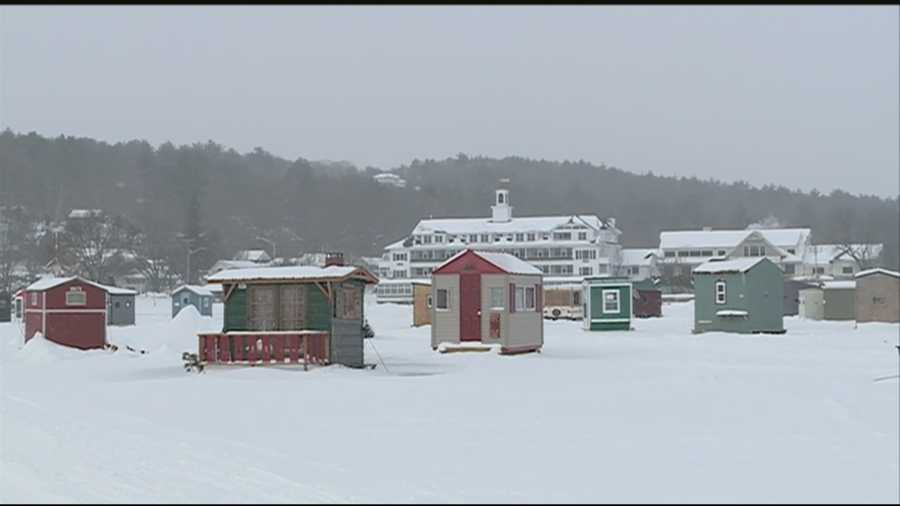 Fishermen gather in meredith for ice fishing derby for Ice fishing nh