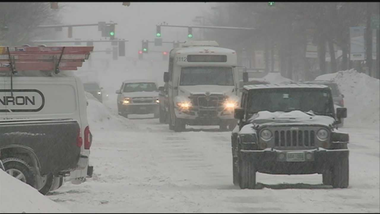 Another major snowstorm bore down on New Hampshire on Monday, bringing a foot or more of snow on top of already high snowbanks.