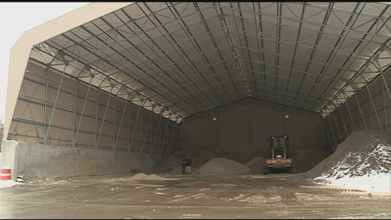 The salt shed in the yard of the Litchfield Highway Department is down to just a few piles of salt after the recent major storms.