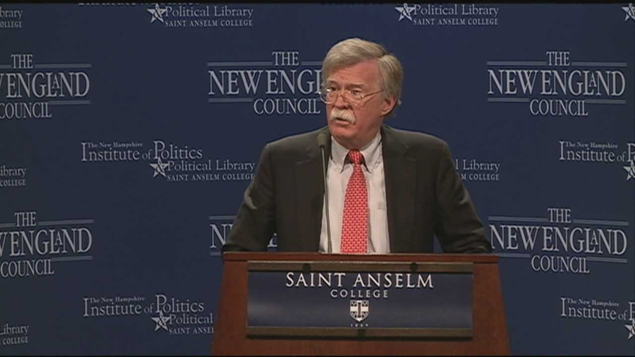 Potential Republican presidential candidate John Bolton spoke to a crowd at St. Anselm College on Friday.