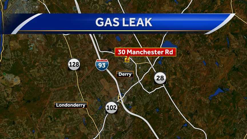 Gas leak Saturday at 30 Manchester Road in Derry, which houses Ocean State Job Lot and Monkey Sports.
