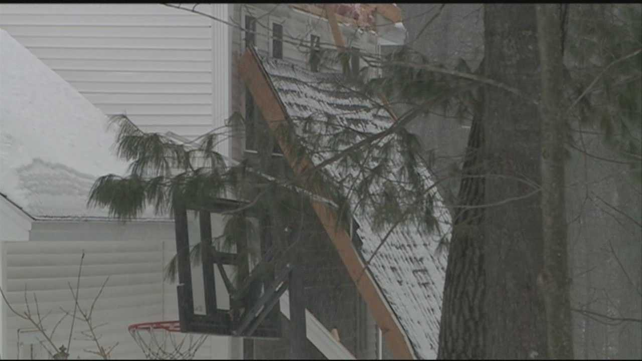 Concord fire officials are trying to determine what caused the roof of a house to completely slide off Saturday afternoon.