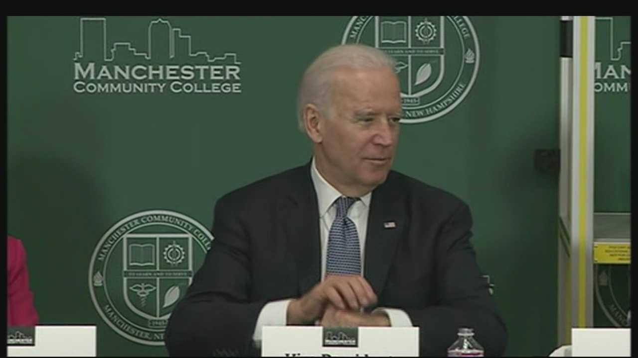 Vice President Joe Biden stopped by Manchester Community College on Wednesday.
