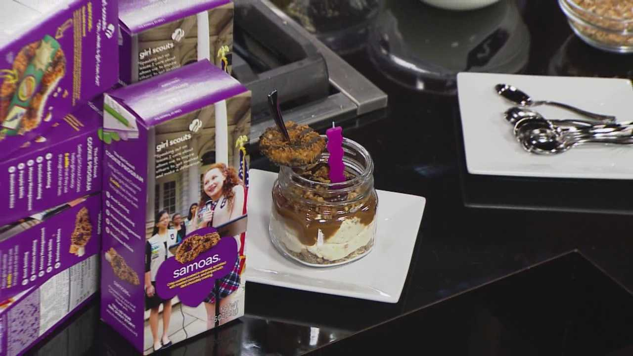 Girl Scout cookies are great to eat by themselves, but here's an easy recipe for a no-bake cheesecake using Samoas that you might also want to try.