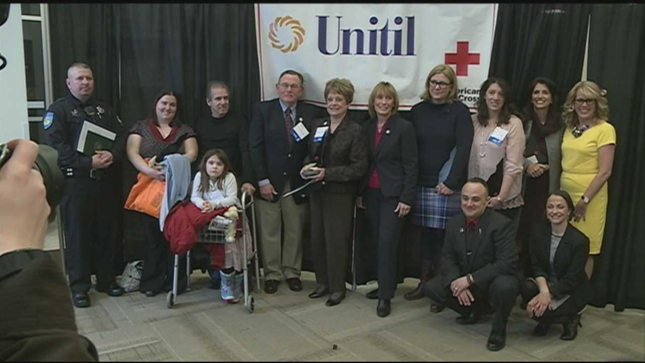 A 6-year-old girl who helped save her grandfather's life and a journalist who was killed were among those honored as heroes by the American Red Cross on Thursday morning.