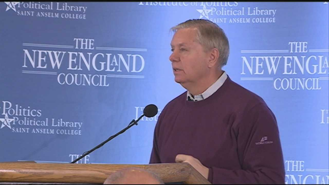 U.S. Sen. Lindsey Graham, R-S.C., visited New Hampshire on Monday, discussing immigration, terrorism and other topics at a Politics and Eggs breakfast in Bedford.