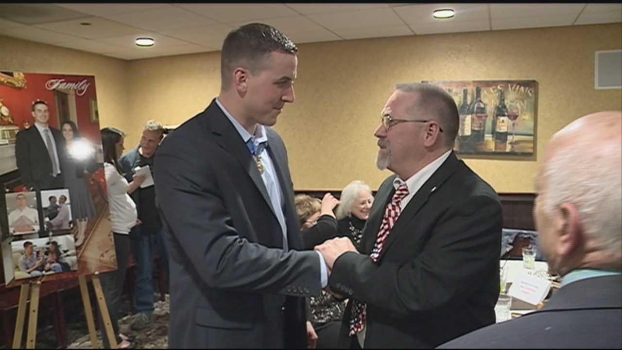 In July, Staff Sgt. Ryan Pitts received the nation's highest military award, the Medal of Honor. He was thanked for his service in his home state Tuesday. WMUR's Jean Mackin reports.