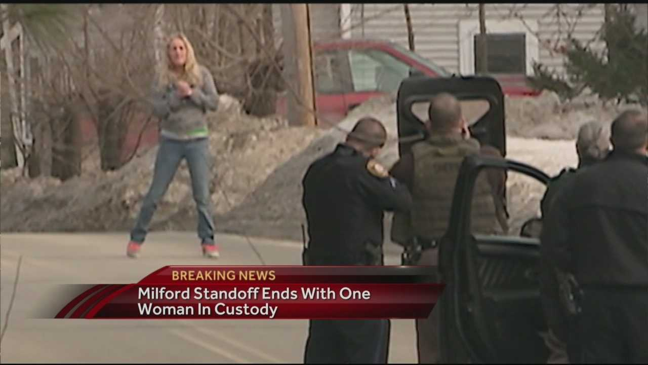 Police in Milford arrested a woman after a standoff Friday afternoon.