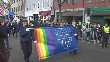 In addition to the national Irish flag, the Rainbow flag was flying in Boston Sunday as the first LGBT groups marched in Boston's St. Patrick's Day parade.