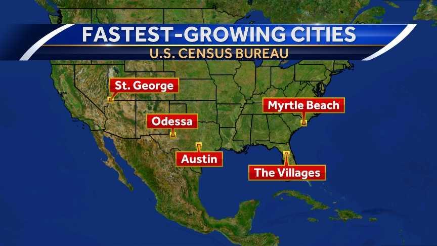 Census Florida City Tops List Of Fastestgrowing Areas In US - Map of fastest growing areas in us