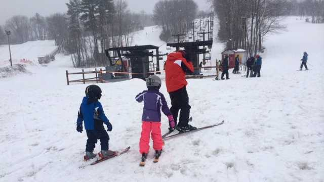 Skiers and boarding are enjoying the final weekend of the ski season at McIntyre Ski Area in Manchester, New Hampshire.