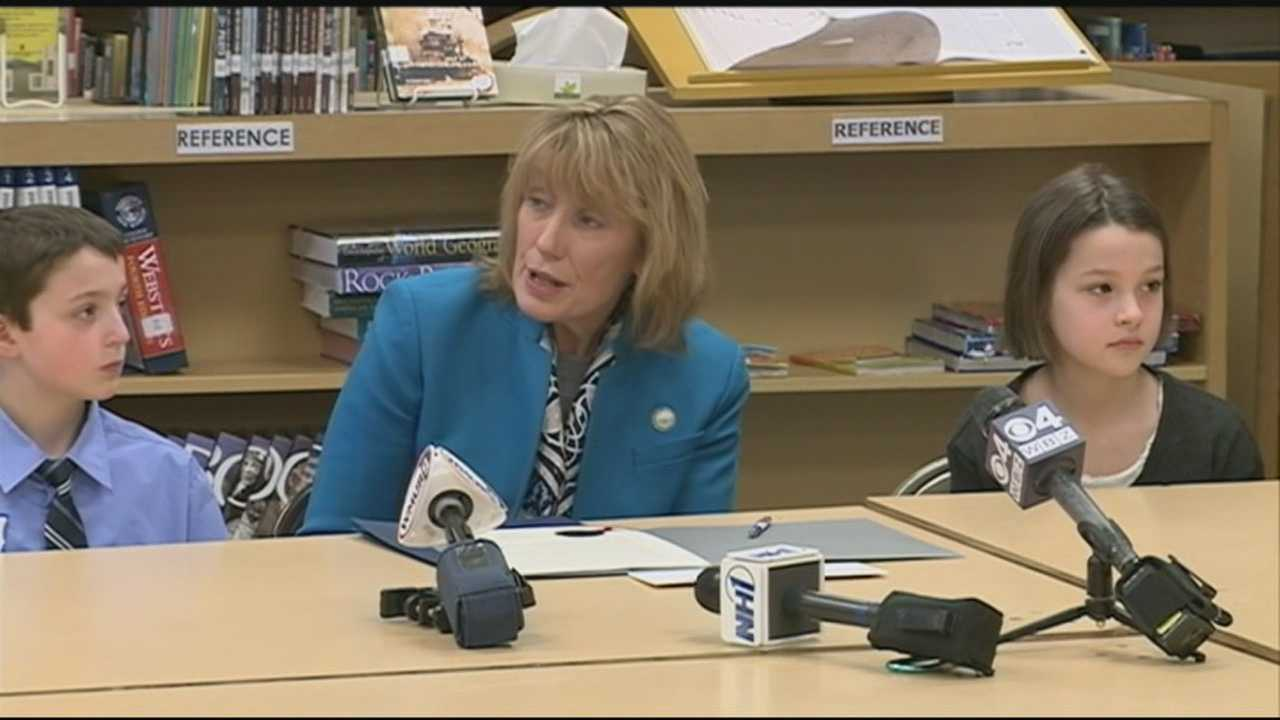 Gov. Maggie Hassan on Tuesday visited fourth-graders who tried to have the red-tailed hawk named the state's official raptor.