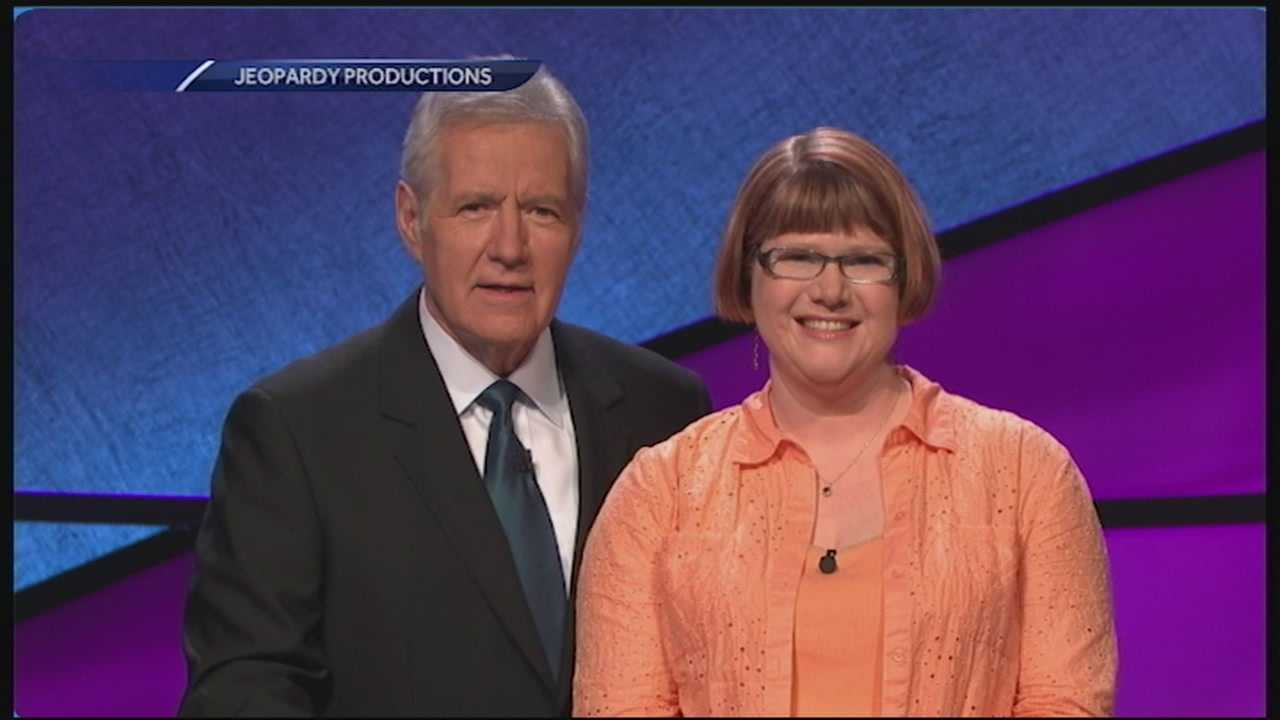 "A New Hampshire woman topped six figures in prize money on ""Jeopardy."" She's been on the show five times in a row. WMUR's Jean Mackin reports."