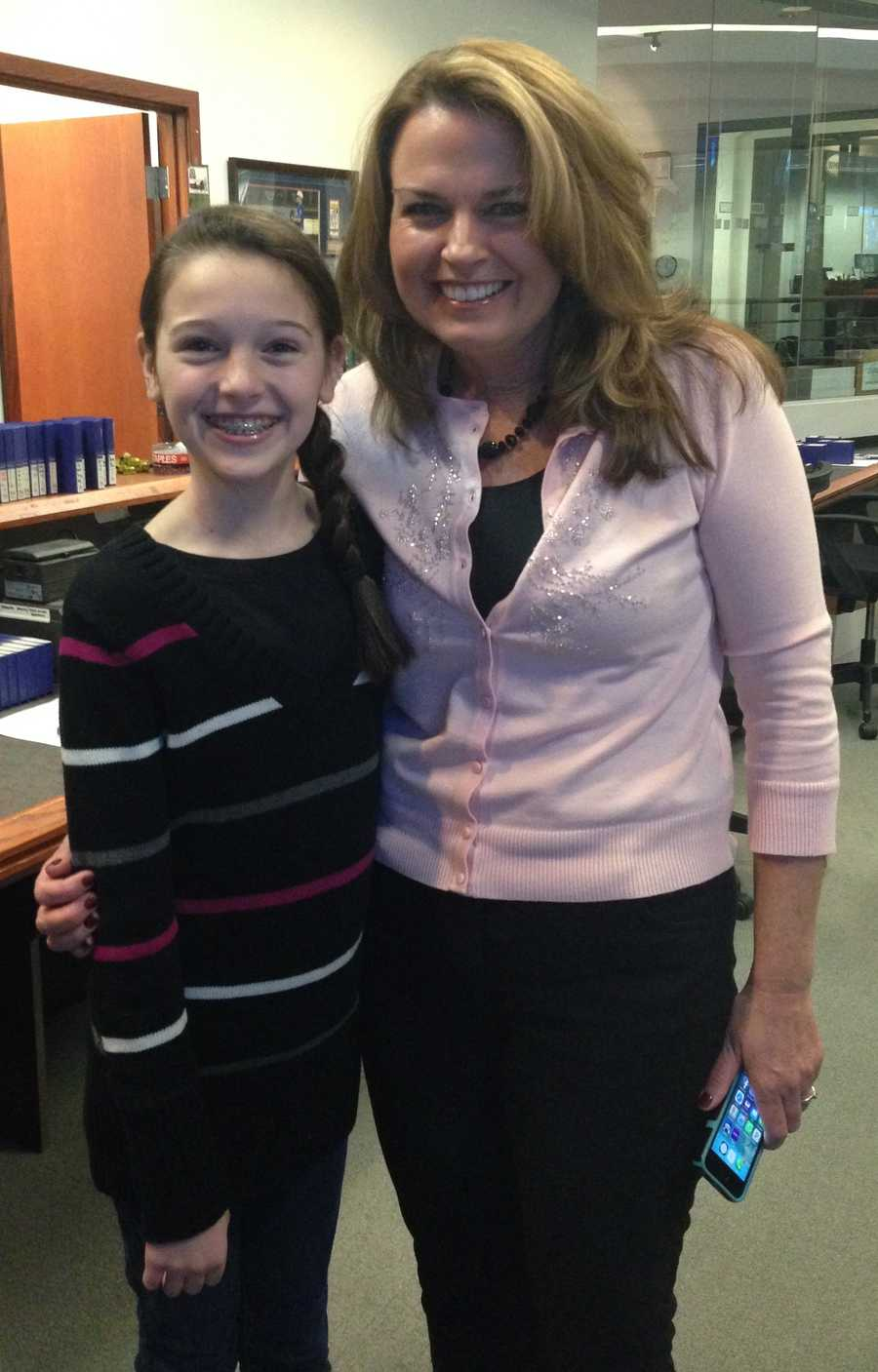 Elsa and Amy in newsroom after her visit to the station. 2014