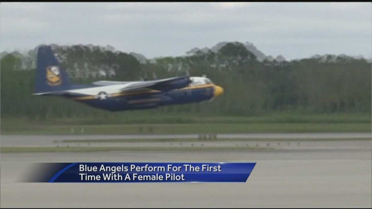Captain Katie Higgins performs with Blue Angels in Beaufort, SC for the first time.