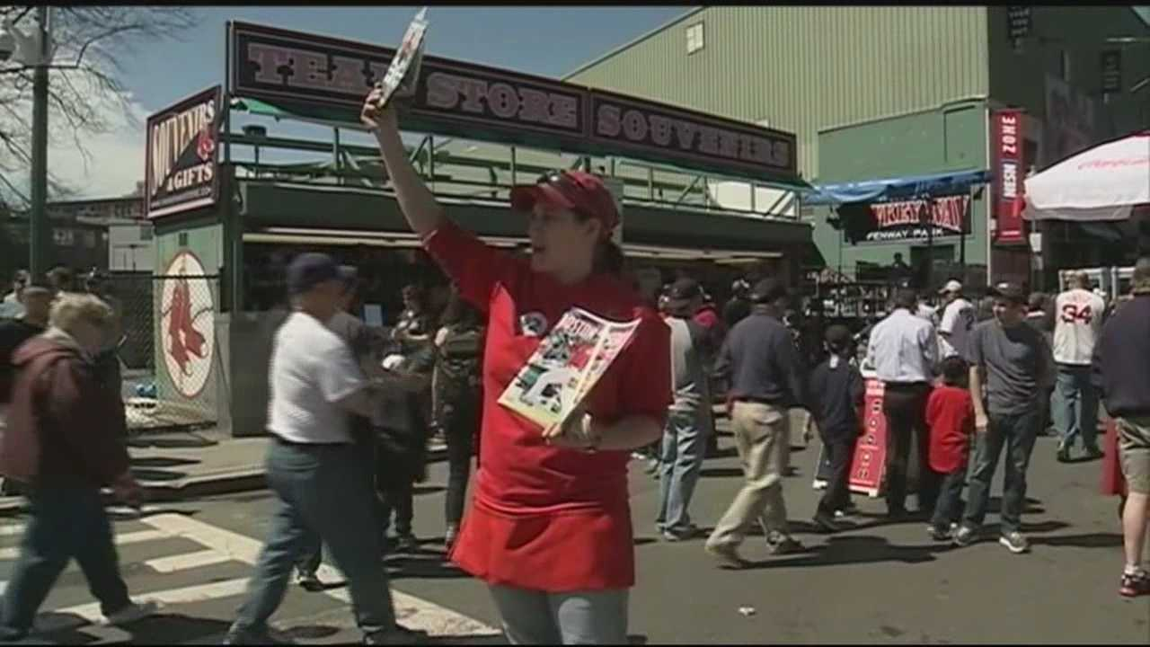 Fans poured into Fenway Park on a warm, sunny Monday for the Red Sox home opener.