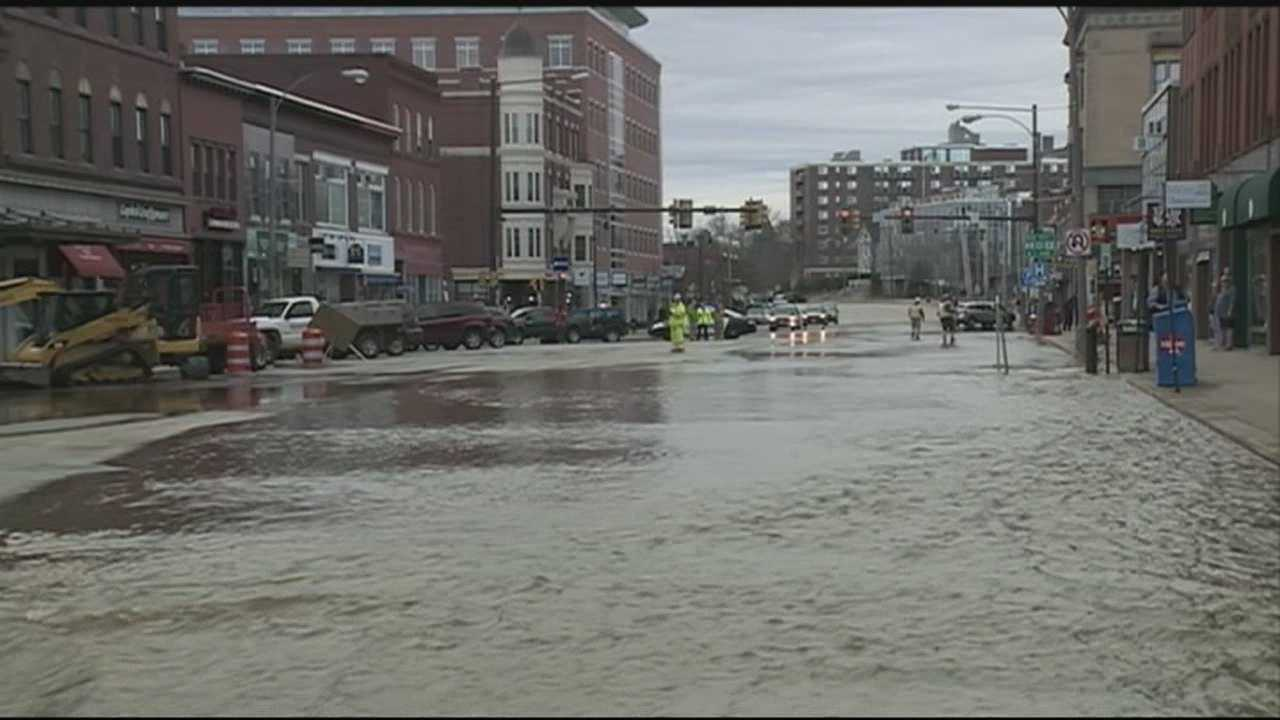 Crews were working Tuesday to repair a water main break that sent tens of thousands of gallons of water per minute rushing down Main Street in Concord.