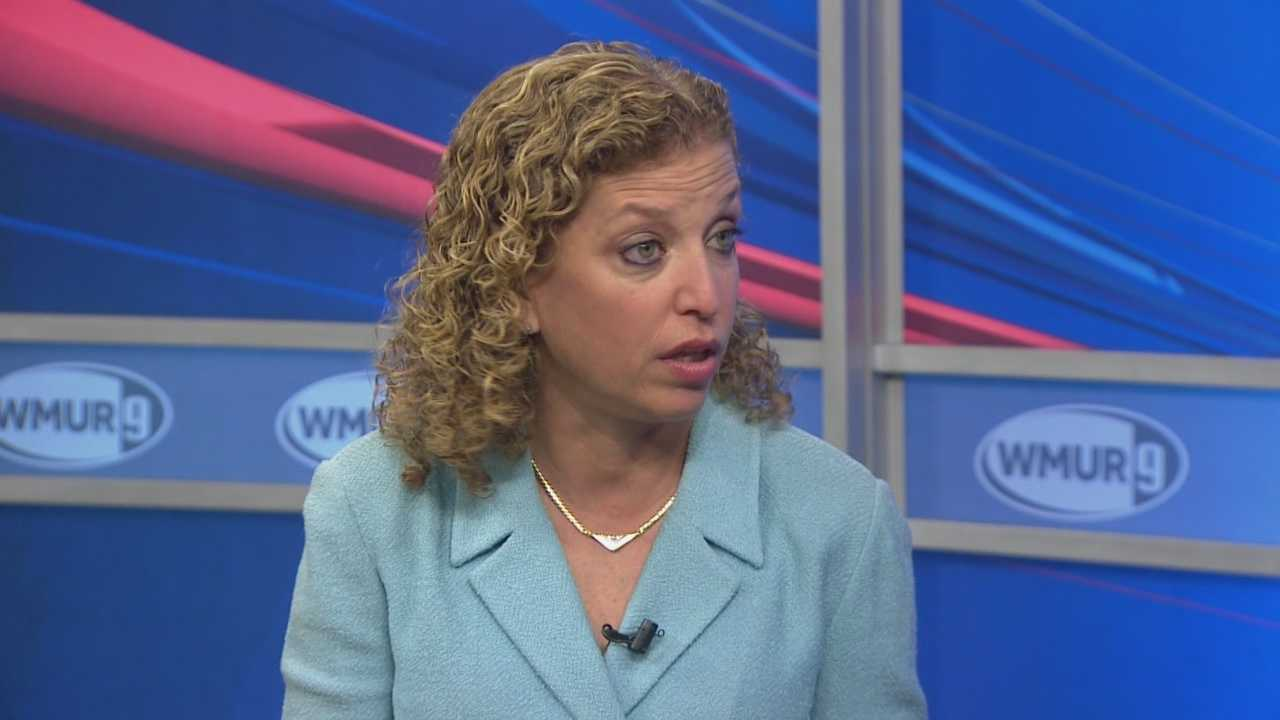 Democratic National Committee chairwoman Debbie Wasserman Schultz talks to Josh McElveen about the GOP leadership summit in Nashua.