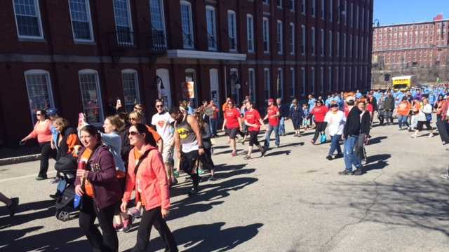 More than 500 people walked in Manchester Sunday morning to support efforts to find a cure for multiple sclerosis.