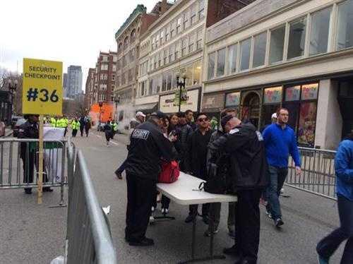 Security checkpoint on Boston Marathon route