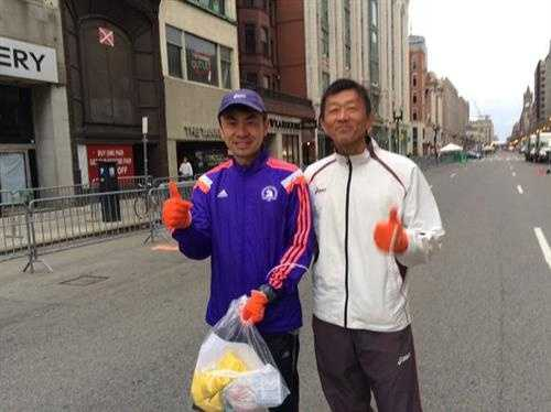 87 countries will be represented in the Boston Marathon -- these runners are from Japan