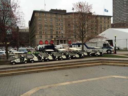 Golf carts at the ready near the finish line on Boylston