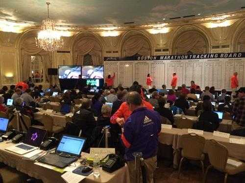 Media room and Boston Marathon tracking board at Copley