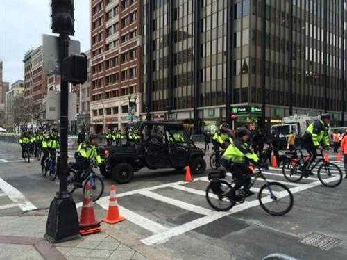 Visible police presence near Boston Marathon finish line