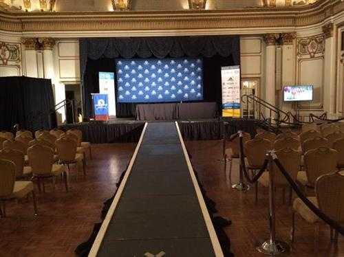 Podium awaiting the Boston Marathon winners at the Copley Hotel