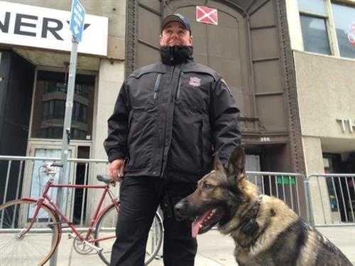 Officer and K9 near Boston Marathon finish line