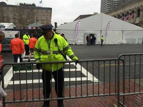 Security is tight in Boston. Officers from several communities are here.