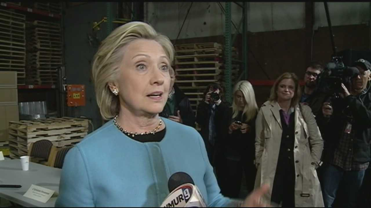 "Hillary Clinton, in her first visit to New Hampshire since launching her second campaign for president, labeled issues being raised in a new book as ""distractions."""