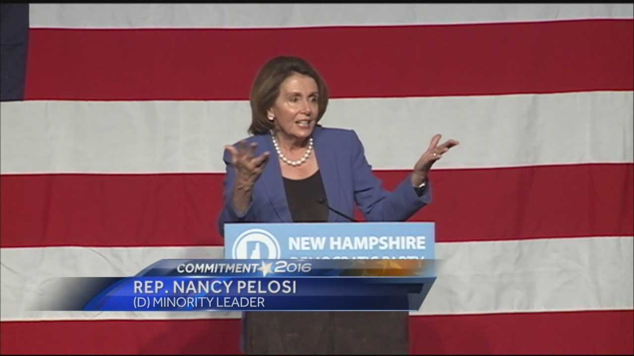 Nancy Pelosi spoke at the New Hampshire Democratic Party's McIntyre-Shaheen 100 Club Dinner in Manchester on Sunday.