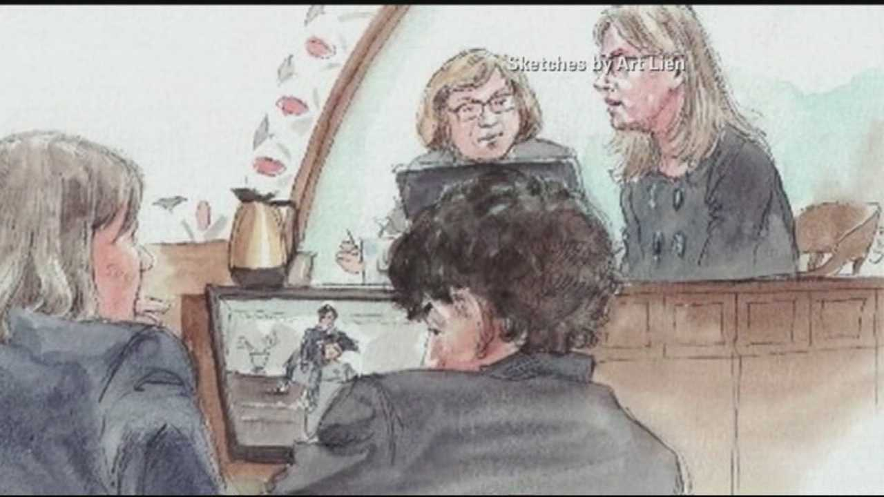 Marathon bomber Dzhokhar Tsarnaev appeared to wipe his eyes as his aunt took the stand Monday. WMUR's Adam Sexton explains what victims are saying about it.