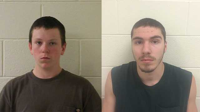 Alex Weaver (left) and Aaron Goudreault (right), both of Weare, were arrested at approximately 2 p.m. Tuesday in connection to an ongoing crime spree investigation.