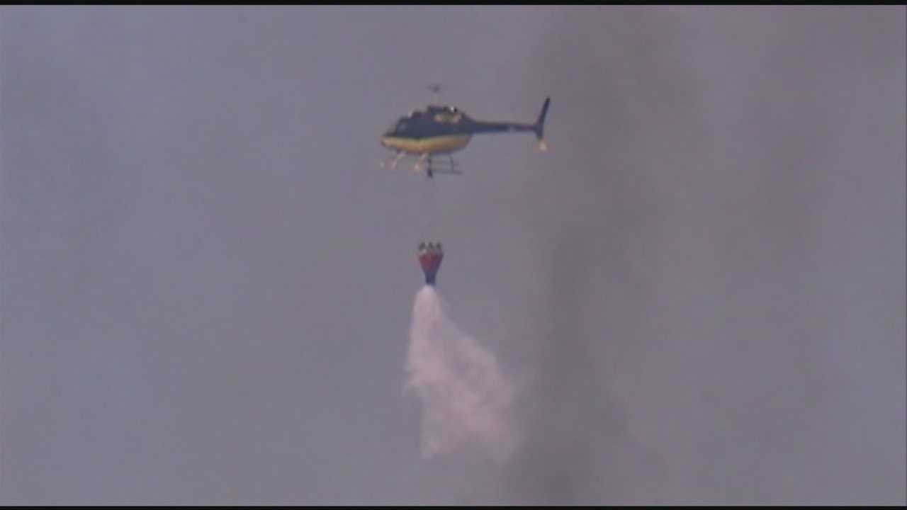 Helicopters used to fight brush fire