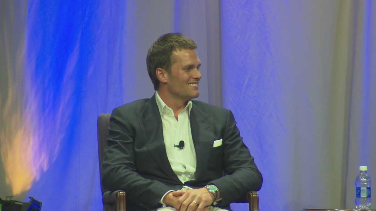 New England Patriots quarterback Tom Brady spoke Thursday night to a large crowd of fans at Salem State University. He was questioned by Jim Gray about the Deflategate report released by the National Football League.