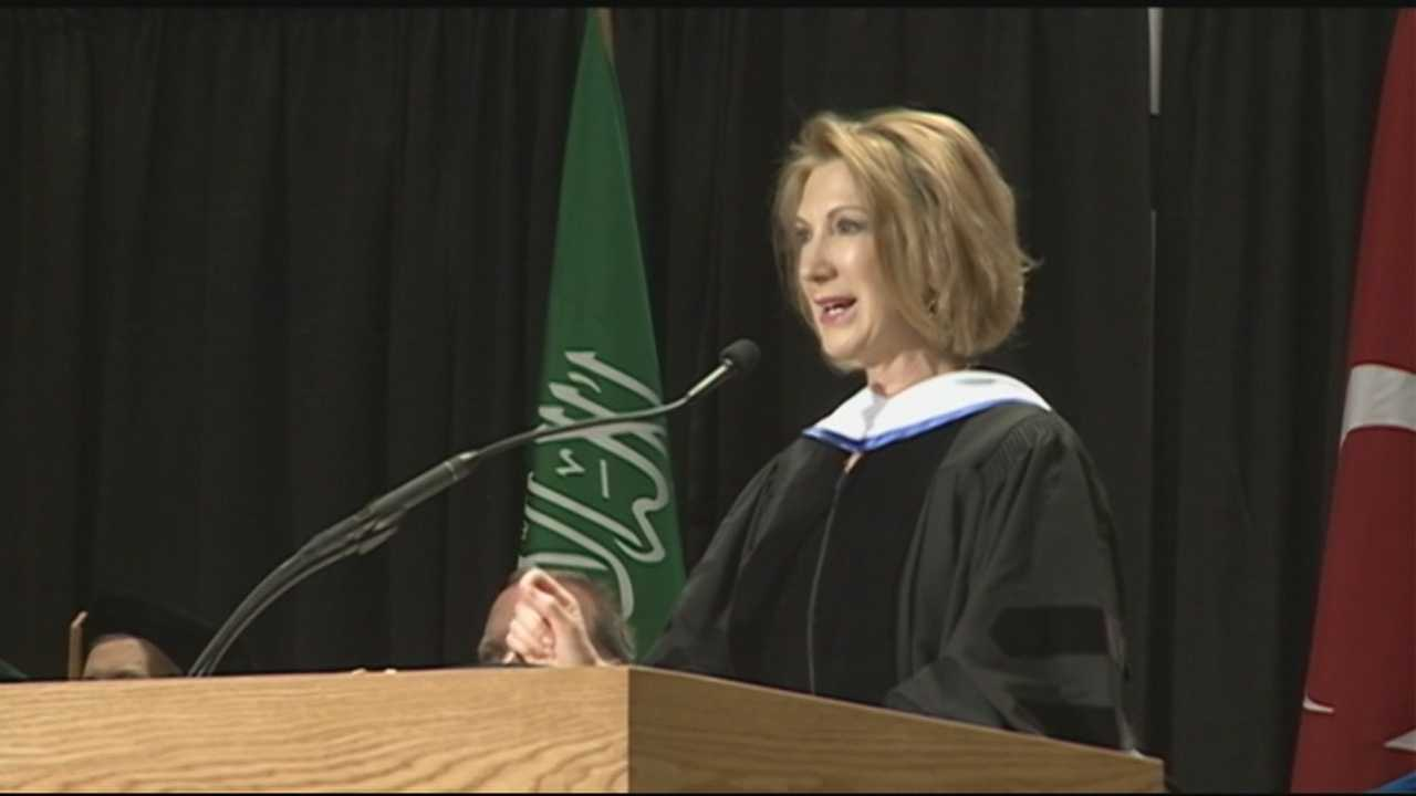 Republican presidential candidate Carly Fiorina gave the commencement speech at Southern New Hampshire University's graduation ceremony Saturday morning, ending her two-day visit to the state.