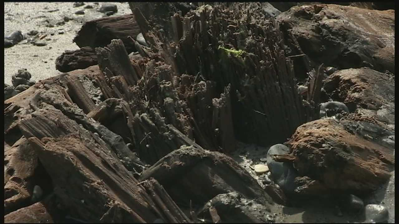 Remnants of a shipwreck washed ashore on Nantasket Beach in Hull, Massachusetts, recently.